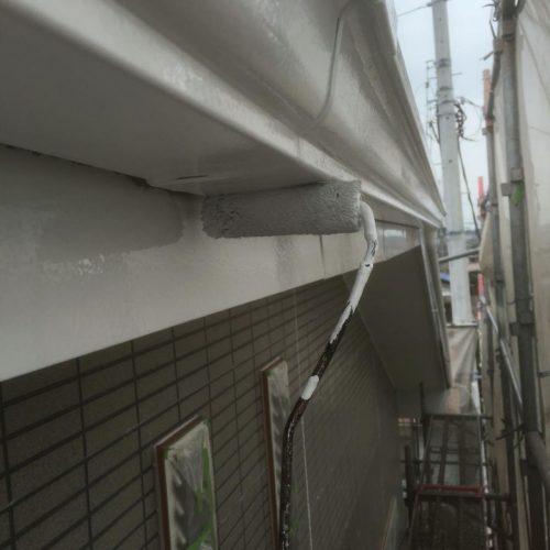 雨どい 1回目塗装 施工中