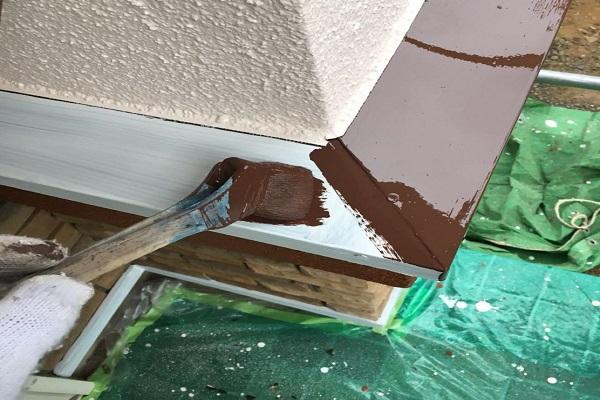 水切り 1回目塗装 施工中