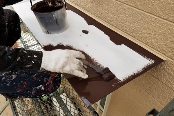 霧除け 1回目塗装 施工中